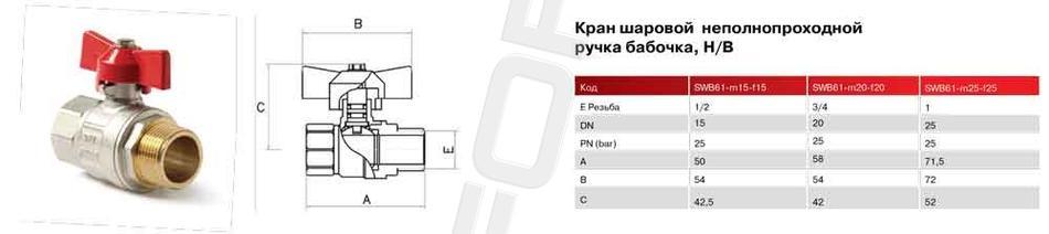 Шаровой латунный кран НР-ВР полнопроходной, ручка-бабочка, Ду 8-25 Ру 40-50, Itap Ideal 093