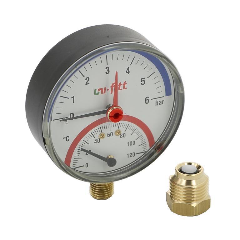 Термоманометр, подключение снизу, Uni-Fitt
