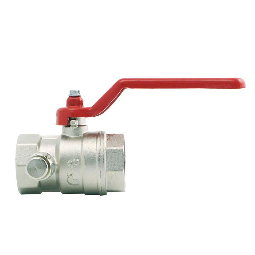 Шаровой латунный кран ВР-ВР полнопроходной, с рукояткой, со спускным клапаном, Ду 15-50 Ру 20-25, Itap Ideal 115