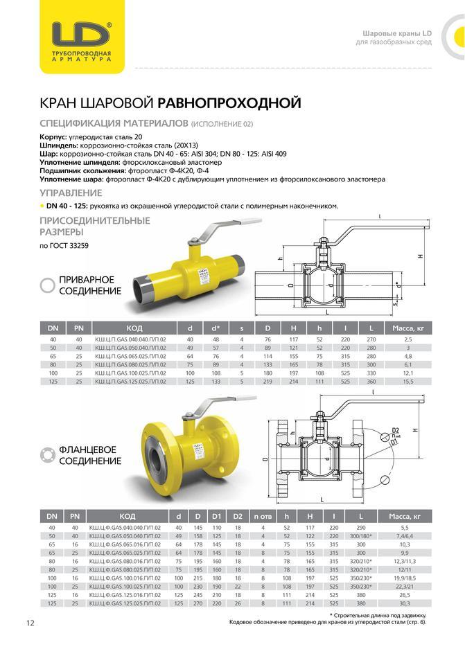 Шаровой стальной кран для газа фланец/фланец полнопроходной, с рукояткой, Ду 15-200, Ру 16-40, LD