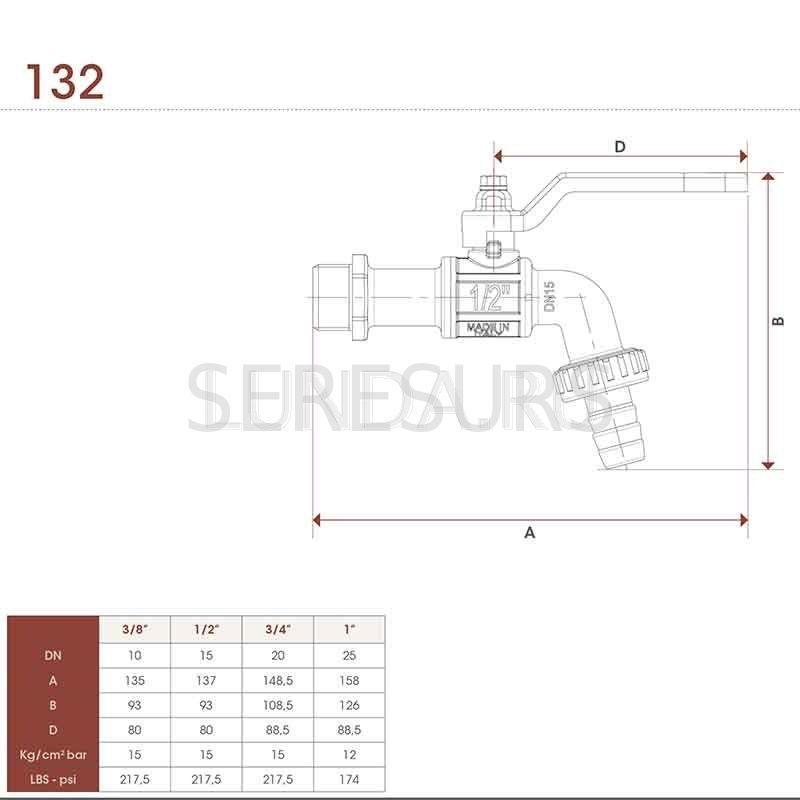 Шаровой латунный кран НР, с рукояткой, угловой, со штуцером, Ду 15-20 Ру 15, Itap GARDEN тип 132