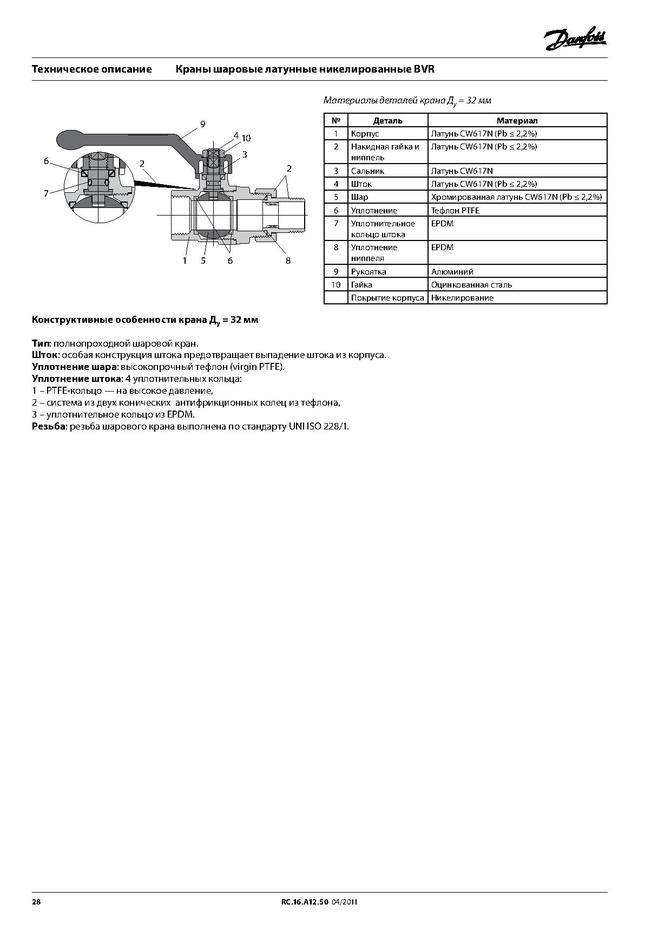 Шаровой латунный кран ВР-ВР полнопроходной, с рукояткой, со спускным элементом и заглушкой, Ду 15-50 Ру 40, Danfoss BVR-D