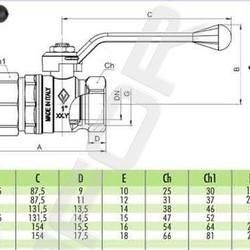Шаровой латунный кран НР-ВР, с рукояткой, со сгоном, Ду 15-50 Ру 25-50, Bugatti серии 920 New Jersey