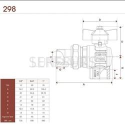 Шаровой латунный кран НР-ВР полнопроходной, ручка-бабочка, угловой со сгоном, Ду 15-25 Ру 40-50, Itap Ideal 298